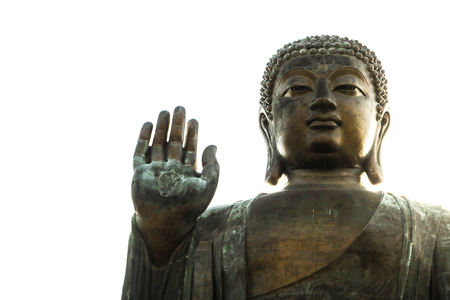 The enormous Tian Tan Buddha at Po Lin Monastery on Lantau Island, Hong Kong. The world's tallest outdoor seated bronze Buddha located in Ngong Ping Village. Stock Photo