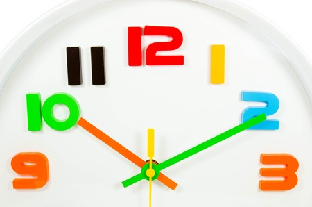 colourful wall clock  isolated photo