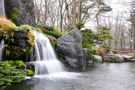 waterfall of japan garden style photo