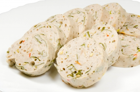 krung:  Mooyor Srong Krung  white pork sausage with herbs and chili on white dish Stock Photo