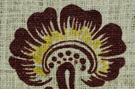 Burlap with flower printed on it  Stock Photo