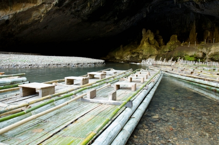 small bamboo raft use to travel in the cave  Pang Ma Pha , Thailand photo