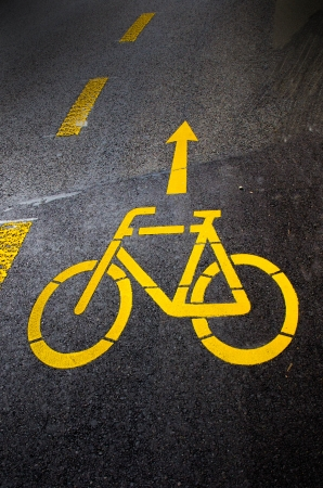 Bicycle lane sign on asphalt surface photo