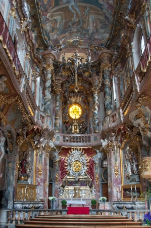 Inside of the Asamkirche Church, Munich, Germany