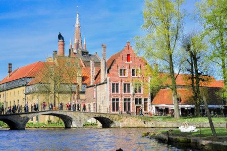serenety: Bruges, Belgium - April 10   Unidentified tourists visit the medieval city of brugge on April 10, 2011 in Bruges, Belgium