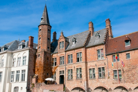 serenety: Houses along the canals of Bruges, Belgium
