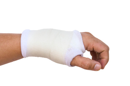 carpol: Close-up hand splint for broken bone treatment isolated on white background Stock Photo