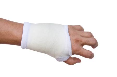splint: Primer plano f�rula de mano para el tratamiento del hueso roto aislados sobre fondo blanco Foto de archivo