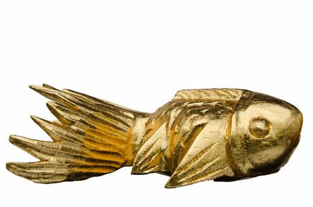goldfish isolated: Wooden carved goldfish isolated on white background Stock Photo