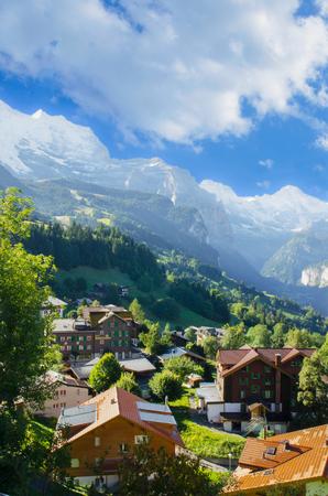 Beautiful Landscape of Lauterbrunnen, Switzerland Stock Photo
