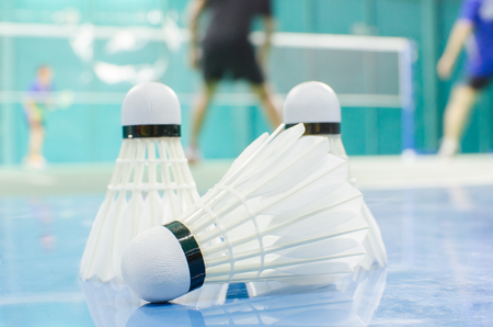 shuttlecock on the floor with badminton player in court