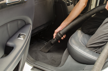 Cleaning of interior of the car with vacuum cleaner, Car cleaning 版權商用圖片