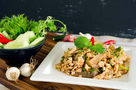 long bean: Thai food, Spicy minced pork with vegetables and Spices.