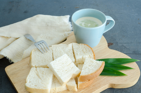 Bread And Pandanus Leaf Steamed Custard, Thai Dessert
