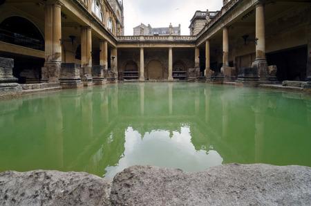 ローマ様式大浴場古代スパ、バスタブ、イングランド 写真素材