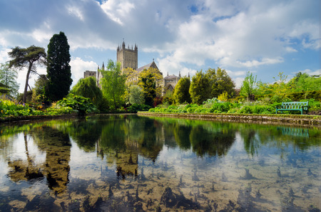 Wells Cathedral Reflection In The Pools Of Park, In Spring Season,Wells, Somerset, England, UK Sajtókép