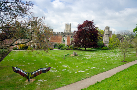 Bishops Palace And Lawn In Spring Season, Wells Cathedral, Wells, Somerset, England Editorial