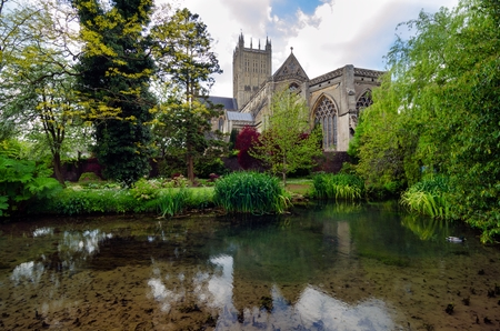 Wells Cathedral Reflection And Park, In Spring Season,Wells, Somerset, England, UK