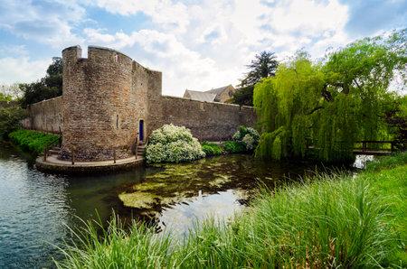 Beautiful Canal Around Bishops Palace, Wells, Somerset UK In Spring Season