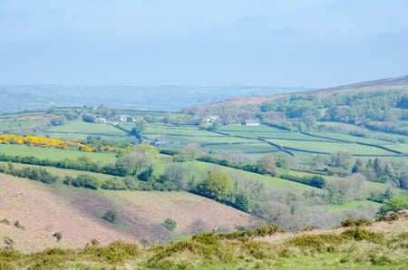 Dartmoor National Park, Area of Moorland In Southern Devon, England, In Spring Season And Haze Cover In Sky Stock Photo