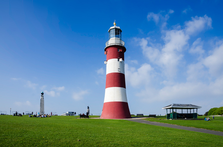 Plymouth Hoe, Smeatons Tower, Plymouth, England In Spring Season