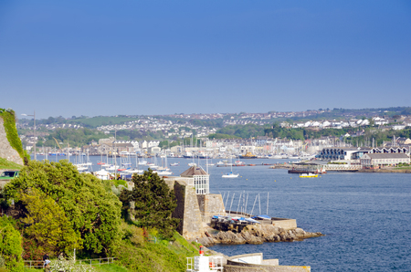 Beautiful Ocean View From Plymouth Hoe, Plymouth, England In Spring Season