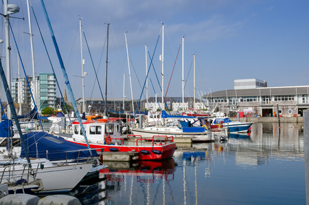 Beautiful Boats In Sutton Harbour, Plymouth, England In Spring Season On May Stock Photo