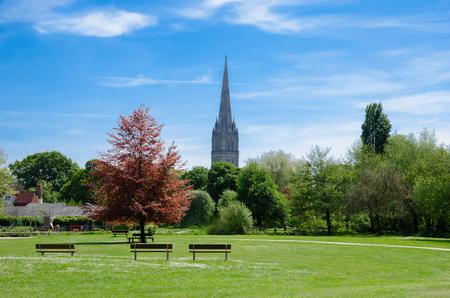 Harnham Water Meadow, Town Path, Salisbury, England In Spring Season