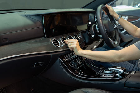 Hand Adjust Car Air Conditioner Direction Of Luxury Car.