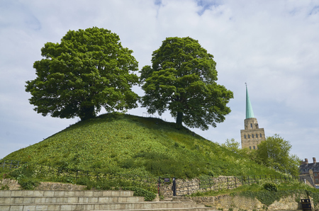 Two Trees On Top Of Hill, Oxford Castle Mound, England