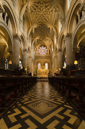 Beautiful  Romanesque, Gothic Style Interior Of Christ Church Cathedral, Oxford,