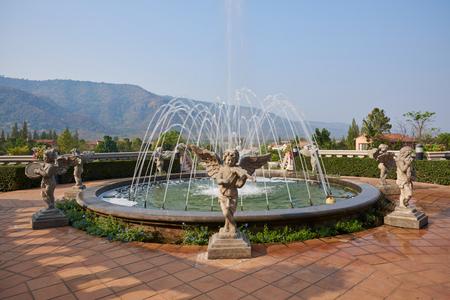 Fountain Italian Style Town, The Toscana Valley ,Khaoyai On February 10, 2019 In Nakhon Ratchasima Stock Photo