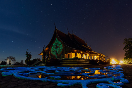 Night Landscape Of Public Temple Wat Sirindhorn Wararam Phu Prao Stock Photo