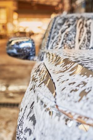 Bubble Wash Foam On Grey Car Surface, Car Washing. Stok Fotoğraf