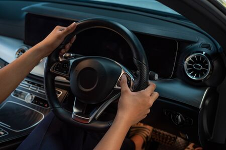 Finger Press On Cruise Control Button To Adjust Voice Volume