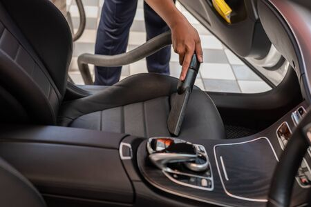 Cleaning of interior of the car with vacuum cleaner, Car cleaning Stok Fotoğraf