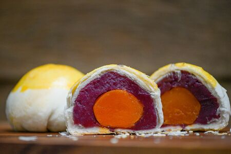 Dilicious Moon Cake Sweet Potato Jam And Salted Egg Yolk Filled Inside, Chinese Dessert