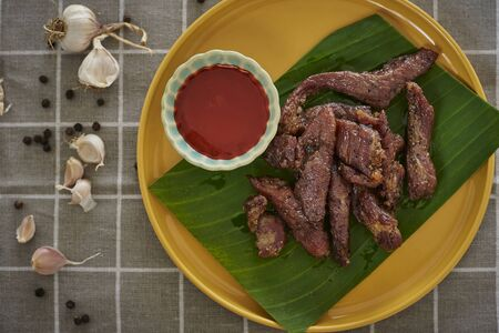 Dried Pork, Thai-Esan Food. Pork With Seasoning Herb Garlic.