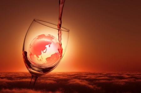 ワインと地 写真素材
