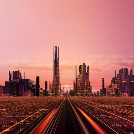 Creado en 3D ilustración futura Ciudad