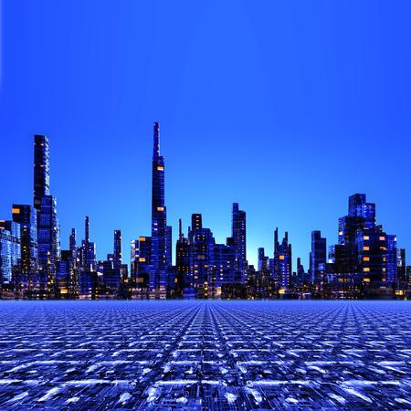 future city: Created in 3D illustration future City Stock Photo