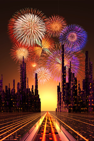 future city: Created in 3D illustration future City and fireworks Stock Photo