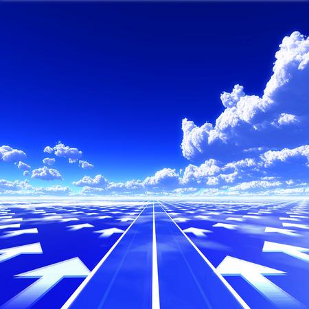 Blauwe hemel in de 3D-afbeelding gemaakt met de weg