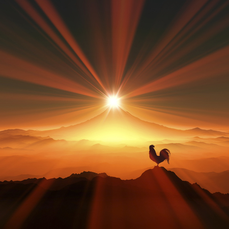is magnificent: 3D illustration of sunrise of Mt.fuji and chicken