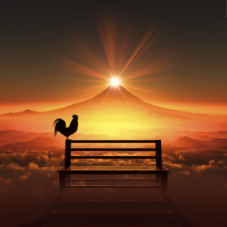 3D illustration of sunrise of Mt.fuji and chicken