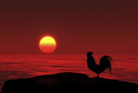 rooster and morning sun: 3D illustration of sunrise and a chicken