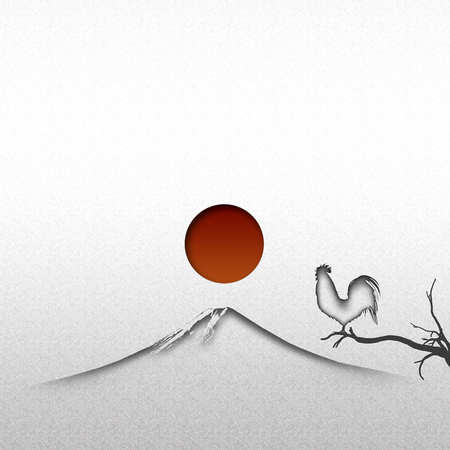 rooster at dawn: Sunrise of Mt.fuji and chicken