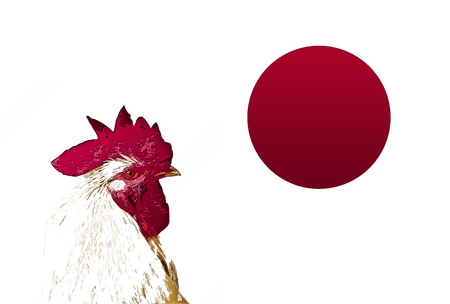 bandera japon: Japanese flag and a chicken