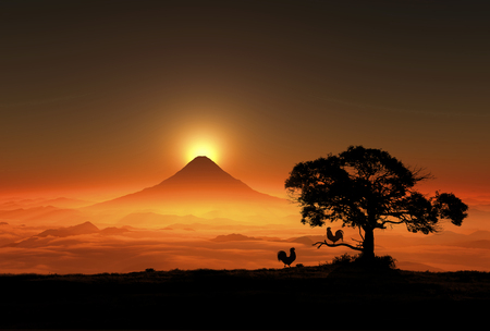 rooster and morning sun: 3D illustration of sunrise of Mt.fuji and chicken