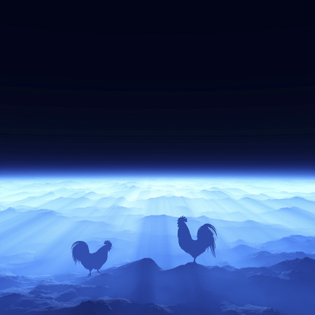 rooster and morning sun: 3D illustration of dawn and chicken